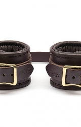 Kajdanki - Coco de Mer Leather Wrist Cuffs L/XL Brown
