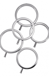 Metalowe pierścienie na penisa - ElectraStim Solid Metal Cock Ring Set 5 Sizes